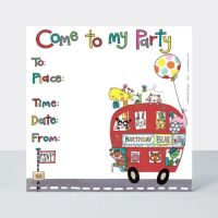 Animals Bus Party Invitations - PARTY Invitations - PACK Of 8 Children's BIRTHDAY Party Invitations - KIDS Party INVITATIONS - Red BUS Party Invites