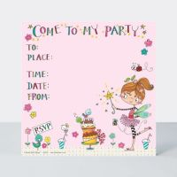 Fairy & Cake Party Invitations – Girls FAIRY Party Invitations - PACK Of 8 – Fairy INVITATIONS -  Fairy PARTY Invites - PRETTY Fairy PARTY Invitations
