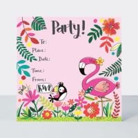 Tropical Flamingo Party Invitations – PACK Of 8 FLAMINGO Invitations – FLAMINGO Party SUPPLIES - Kids BIRTHDAY Invitations - CUTE Flamingo INVITES