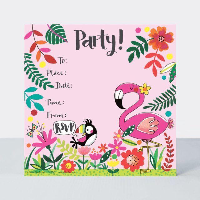 Tropical Flamingo Party Invitations – PACK Of 8 FLAMINGO Invitations – FLAM