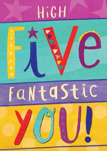 5th Birthday Cards - HIGH Five FANTASTIC You - CHILDREN'S Birthday CARDS -