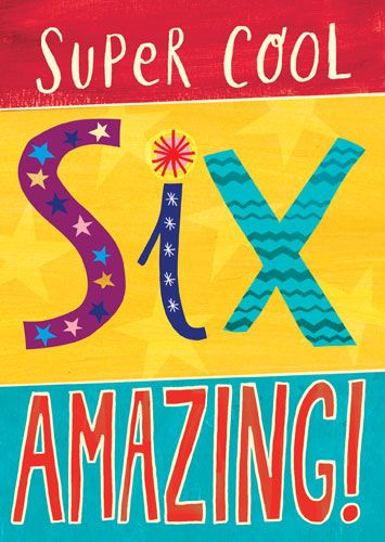 6th Birthday Cards -SUPER Cool SIX Amazing - CHILDREN'S Birthday CARDS - CO