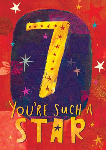 7th Birthday Cards -7 YOU're Such A STAR - CHILDREN'S Birthday CARDS - COLO