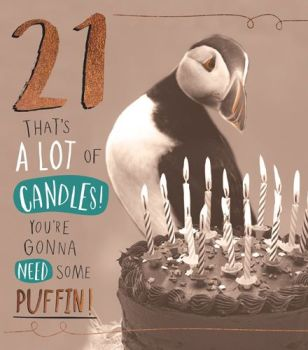 21st Birthday Cards - YOU'RE Gonna NEED Some PUFFIN - Funny 21st BIRTHDAY Card - FUNNY 21st CARDS - Puffin BIRTHDAY Cards - FUNNY Son Birthday CARD