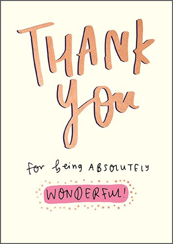Thank You Cards - THANK You For Being ABSOLUTELY Wonderful - GOLD Foil THAN