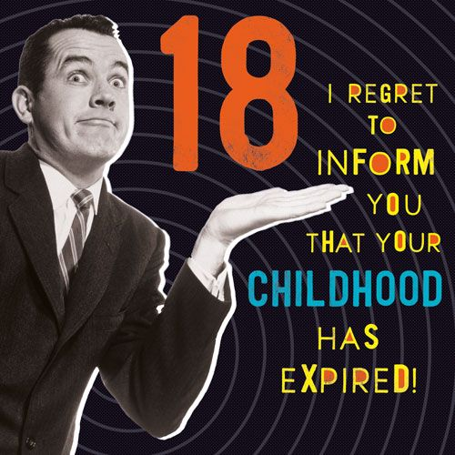 18th Birthday Cards - Your CHILDHOOD Has EXPIRED - Funny 18th BIRTHDAY Card