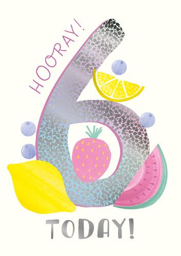 6th Birthday Cards - HOORAY 6 TODAY - CHILDREN'S Birthday CARDS - Pretty 6t