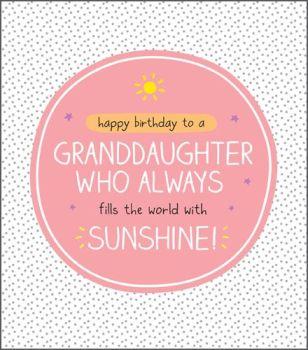 Granddaughter Birthday Cards - FILLS The WORLD With SUNSHINE - Happy Birthday GRANDDAUGHTER Card - Pretty SPARKLY Granddaughter Birthday CARD