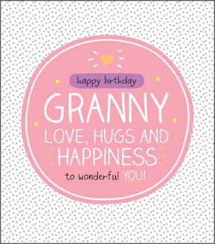 Happy Birthday Granny Card - LOVE Hugs And HAPPINESS - Birthday CARDS For GRANDMA - Granny BIRTHDAY Cards - SPARKLY Birthday CARD For GRANNY
