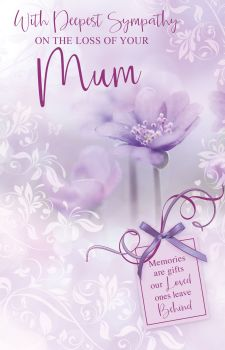 With Deepest Sympathy Card -  MEMORIES Are GIFTS - LOSS Of MUM Cards - SYMPATHY Cards - MUM Sympathy CARDS - Sympathy & CONDOLENCE Cards