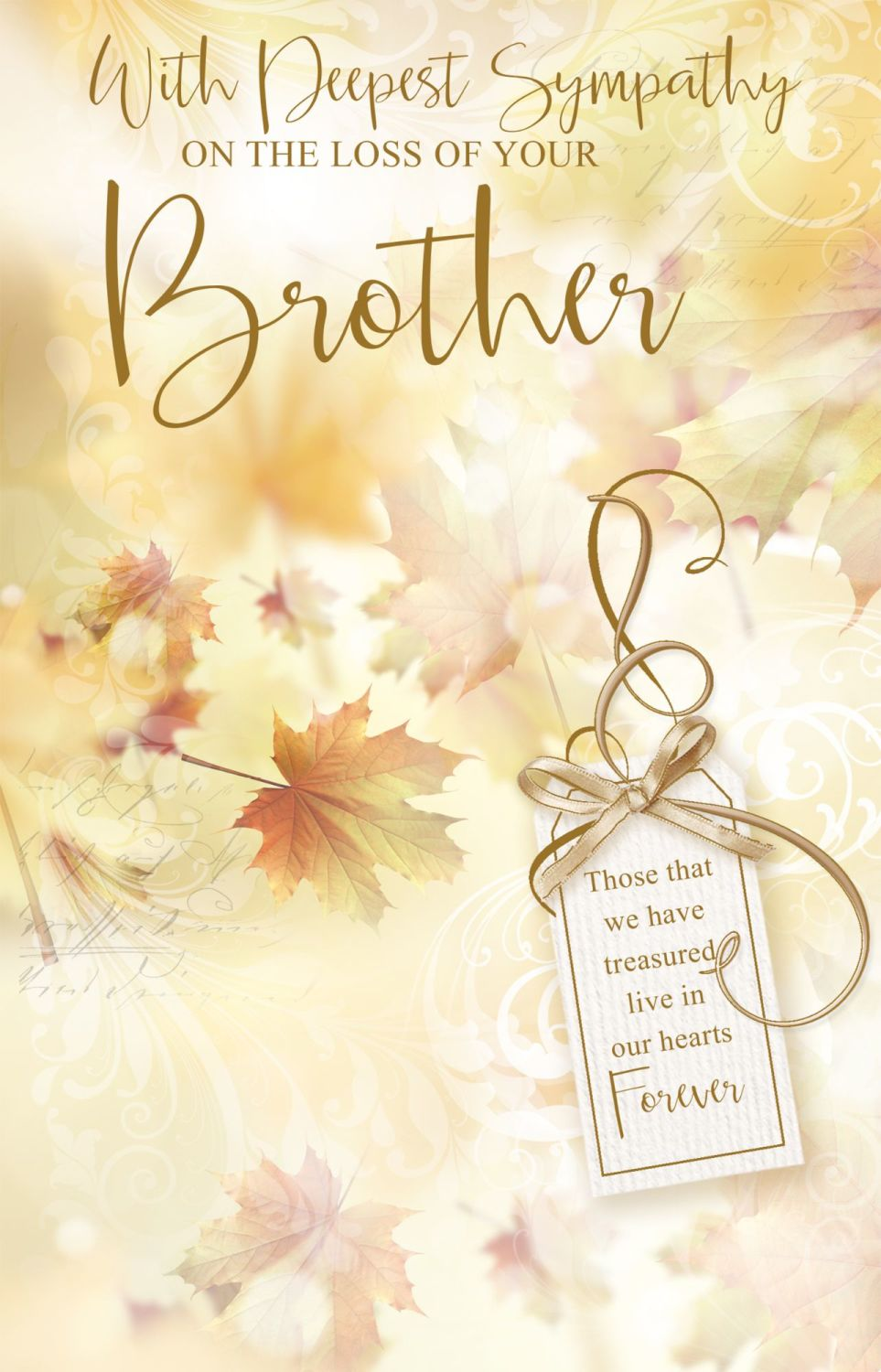 With Deepest Sympathy Card -  LIVE In Our HEARTS - LOSS Of BROTHER Cards -