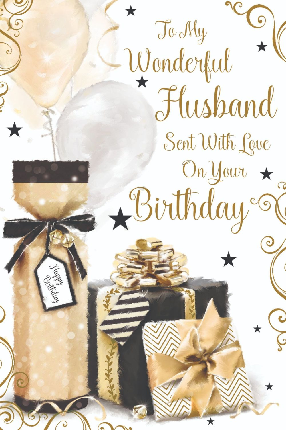 Wonderful Husband Birthday Card - With LOVE On Your BIRTHDAY - Husband BIRT