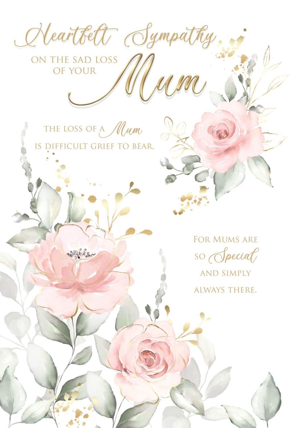 Heartfelt Sympathy Card -  DIFFICULT Grief To BEAR - LOSS Of MUM Cards - SY
