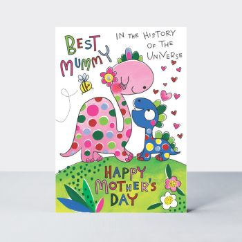 Mother's Day Cards - BEST Mummy In The HISTORY Of The UNIVERSE - Cute DINOSAURS Mother's Day CARD - Happy Mother's Day Cards