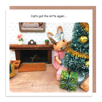 Funny Cat Christmas Cards - CAT'S Got The SH*TS Again - FUNNY Christmas CARDS - CHRISTMAS Cards With CATS - Cat CHRISTMAS Greeting Cards