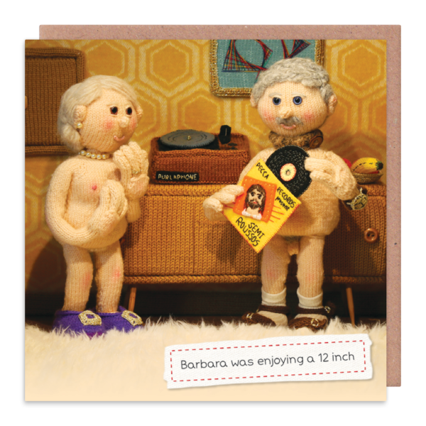 Nudist Greeting Cards - BARBARA Was ENJOYING A 12 Inch - RUDE & Funny CARDS