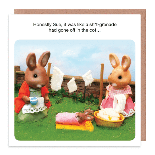 Rude New Baby Cards - FUNNY New Mum CARD - GRENADE Had GONE Off In The COT