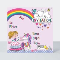 Princess & Unicorn Party Invitations – PRINCESS Invitations - PRINCESS Party SUPPLIES - Unicorn BIRTHDAY Invitations - PACK Of 8 PARTY Invitations