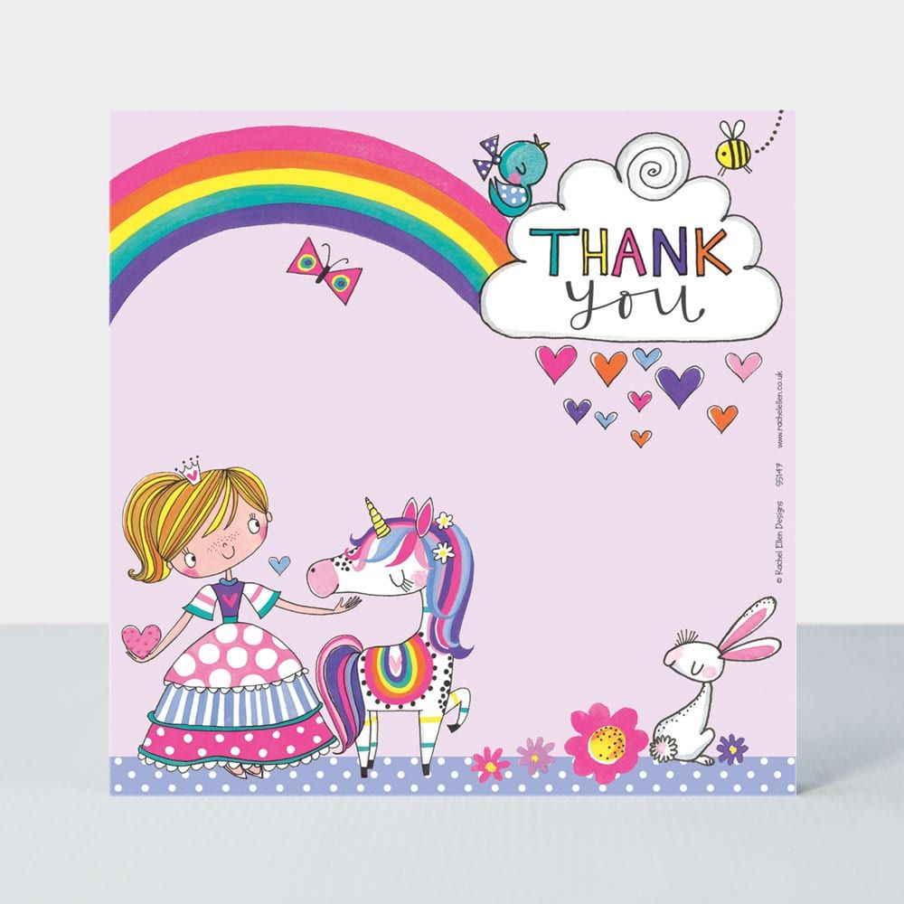 Set of 8 Princess & Unicorn Thank You Cards - GLITTERY Princess Thank YOU C
