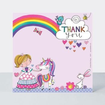 Set of 8 Princess & Unicorn Thank You Cards - GLITTERY Princess Thank YOU Cards - CHILDRENS Thank YOU Cards - PARTY Thank YOU Cards