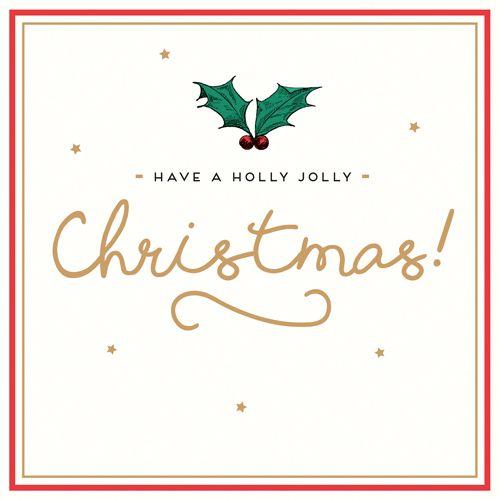 Holly Christmas Cards - HAVE A Holly JOLLY Christmas - CHRISTMAS Cards - GO