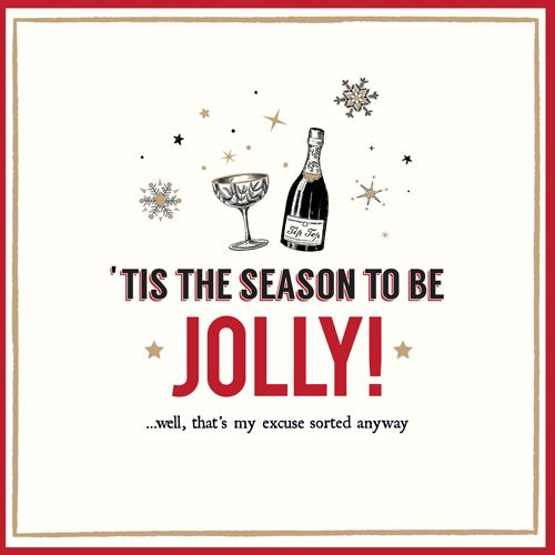 Funny Wine Christmas Cards - THAT'S My EXCUSE Sorted ANYWAY - Wine CHRISTMA