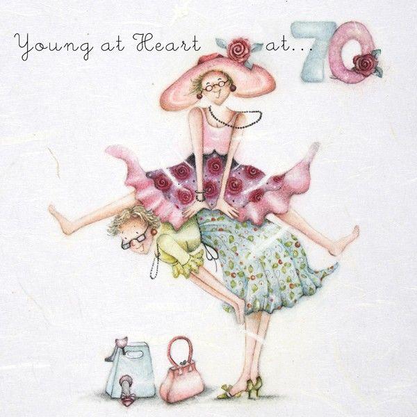 70th Birthday Cards - YOUNG At HEART At 70 - FUN 70th BIRTHDAY Card - FANTA