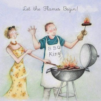 Bbq Birthday Card - LET The FLAMES Begin - Barbecue Birthday Card -  FUNNY Birthday CARDS For HIM - BARBECUE Birthday CARD For DAD - Husband - Brother