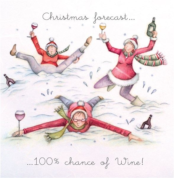 Funny Christmas Cards - CHRISTMAS Forecast 100% CHANCE Of WINE - Booze CHRI