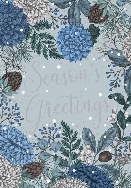 Season's Greetings - CHRISTMAS Cards - BEAUTIFUL Silver & Blue CHRISTMAS Ca