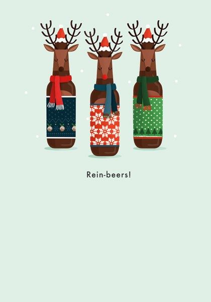 Funny Christmas Cards - REIN-BEERS - Funny REINDEER Christmas CARD - Christ