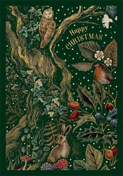 Christmas Cards - HAPPY CHRISTMAS - Woodland SCENE  Christmas CARD - WONDERFUL Gold FOIL Christmas CARD - Christmas CARDS For FRIENDS & FAMILY