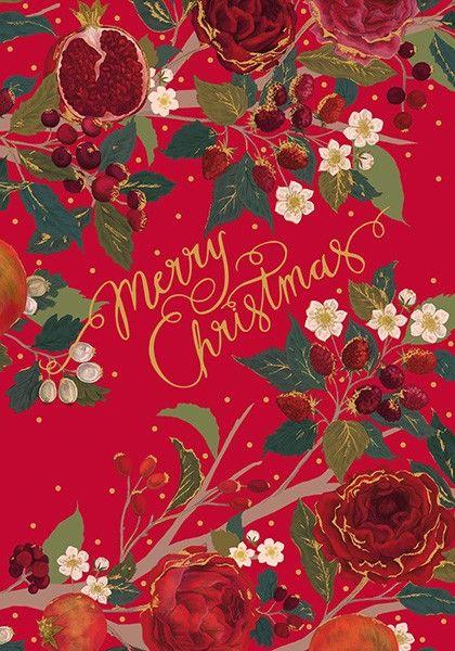 Christmas Cards - MERRY CHRISTMAS - Ruby FRUITS Christmas CARD - FLORAL Chr