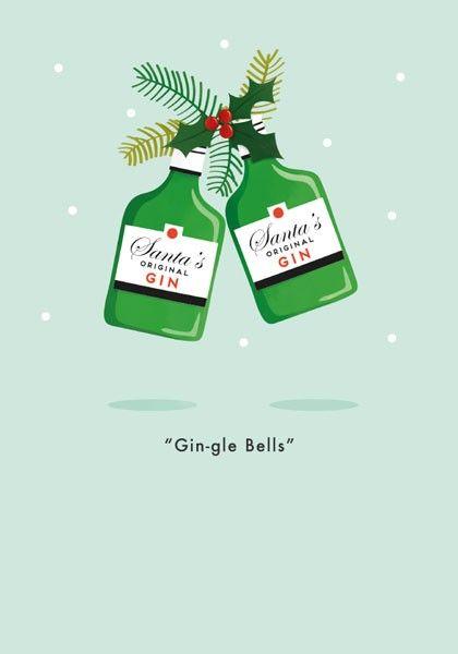 Gin Christmas Card - GIN-GLE BELLS - Santa's ORIGINAL Gin - FUNNY Christmas