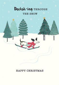 Cute Christmas Card - DACHSH-ING Through The SNOW - Dachshund CHRISTMAS Card - FUNNY Dog CHRISTMAS Cards - HAPPY Christmas CARD