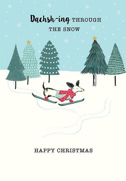 Cute Christmas Card - DACHSH-ING Through The SNOW - Dachshund CHRISTMAS Car