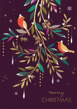 Christmas Cards - MERRY Christmas - BEAUTIFUL Gold FOIL Christmas CARD - BIRDS In A TREE - Christmas CARDS For FRIENDS & Family