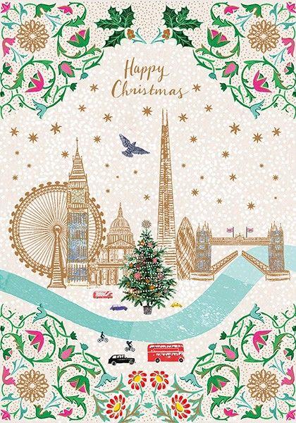 London Skyline Christmas Card - HAPPY Christmas - CITYSCAPE Christmas CARDS
