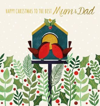 Mum & Dad Christmas Cards - TO The BEST Mum & DAD - Christmas CARDS - Christmas CARDS For PARENTS - Love BIRD Christmas CARD - Happy CHRISTMAS