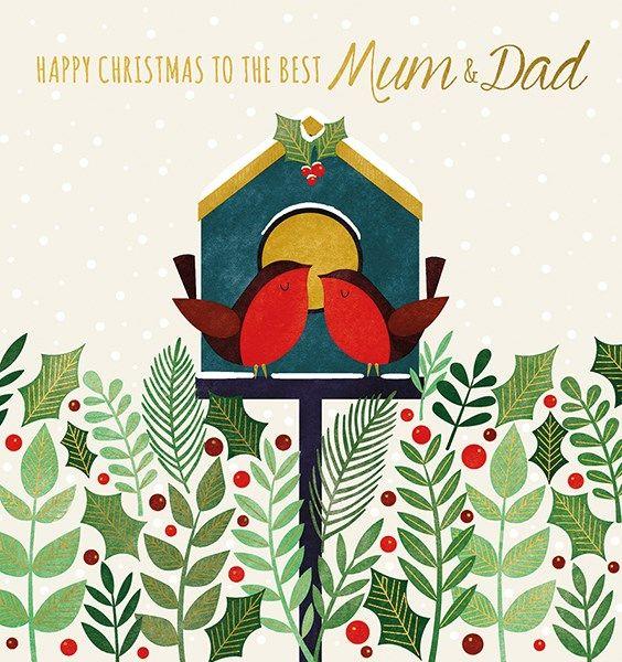 Mum & Dad Christmas Cards - TO The BEST Mum & DAD - Christmas CARDS - Chris
