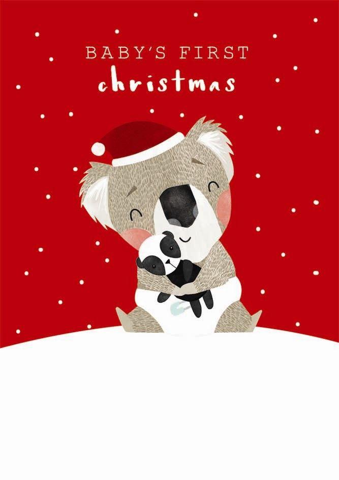 Baby's First Christmas Card - CHRISTMAS Cards - CUTE Koala CHRISTMAS Card -