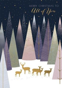 Christmas Cards - MERRY Christmas To All Of YOU - Christmas CARDS For FAMILY & Friends - BEAUTIFUL Gold DEERS & Stags CHRISTMAS Cards