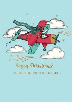 Across The Miles Christmas Cards - HAPPY Christmas - RETRO Style Christmas CARD - Fun CHRISTMAS Card FOR Friends & FAMILY - Christmas CARDS Online