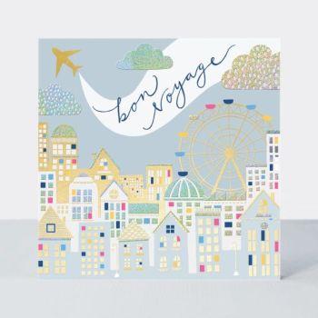 Bon Voyage Card - BON VOYAGE - Bon VOYAGE & Travelling CARDS -  Town SCENE Bon Voyage CARD - Leaving CARDS - Beautiful BON Voyage GREETING Card