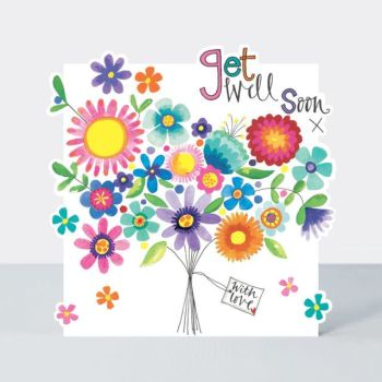 Get Well Soon Cards - GET Well SOON - BOUQUET Of FLOWERS Card - Pretty GET WELL Card - Get WELL Cards - Get WELL Card For MUM- Nan - GRAN - FRIEND