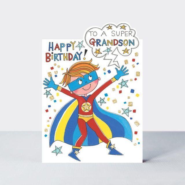 Birthday Cards For Grandson - To A SUPER GRANDSON - SUPER HERO Birthday CAR