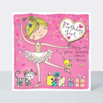 Ballerina Birthday Cards - MAY All Your DREAMS Come TRUE - Ballet BIRTHDAY Card - BALLERINA Birthday Card FOR Daughter - NIECE - Granddaughter