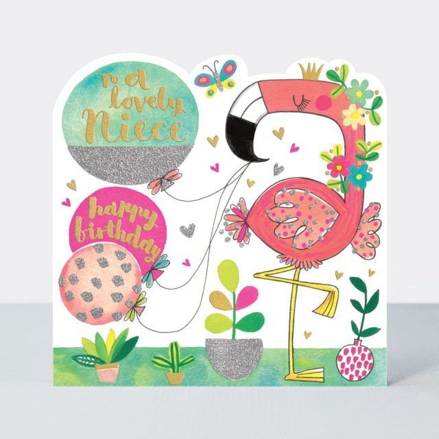 Birthday Cards For Niece - To A LOVELY NIECE - Cute FLAMINGO Birthday CARD