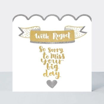 RSVP Decline & Regret Cards - So SORRY To MISS Your BIG DAY - Wedding REGRET Card - WEDDING Decline CARD - Pretty SPARKLY WEDDING Regret CARD