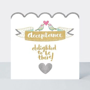 RSVP Decline & Regret Cards - DELIGHTED To Be THERE - Wedding ACCEPTANCE Card - WEDDING Accept CARD - Pretty SPARKLY WEDDING Accept CARD